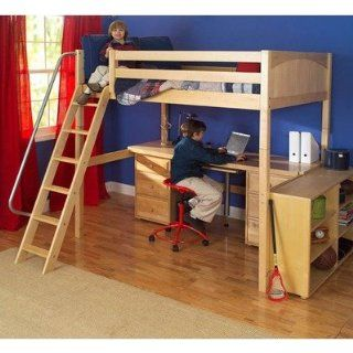 Maxtrix Kids Grand 3 / Giant 3 Full High Loft Bed with Long Desk and 3 1/2 Drawer Chest Furniture & Decor