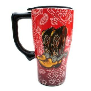 Western COWBOY BOOTS COFFEE rodeo TRAVEL Mug Art NEW