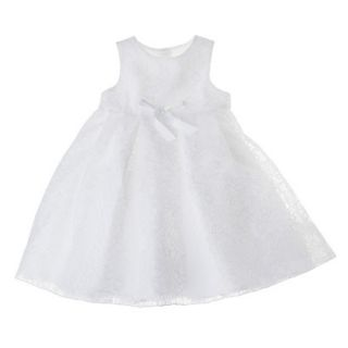 Tevolio Infant Toddler Girls Sleeveless Lace Overlay Dress   White 12 M