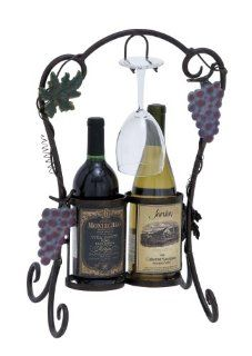 Plutus Brands Unique Metal Wine Holder Decorated with Metal Tendrils   Wine Racks