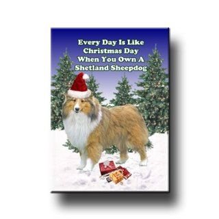 Shetland Sheepdog Christmas Holiday Fridge Magnet  Refrigerator Magnets