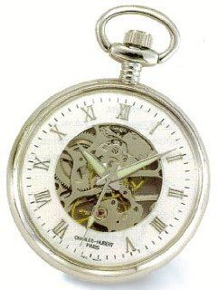 Charles Hubert ,Pocket Watch 17 jewels   Chrome Plated Open Face & Back, Roman Numerals Pocket Watch Jewelry