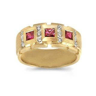 Men's Diamond Ring   Men's Royal Ruby/Diamond Band in 18k Yellow Gold (.45 dia / .75 ruby ct. tw. / G Color / VS1 VS2 Clarity) CleverEve Jewelry