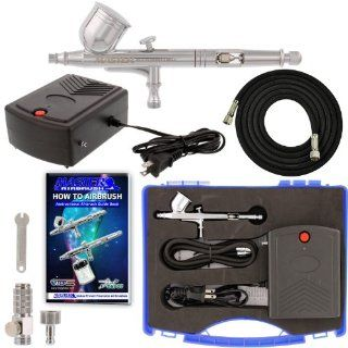 General Purpose Airbrush System, Precision Dual action Gravity Feed Airbrush Set with Mini Air Compressor. Great for Cake Decorating, Arts & Crafts, Temp Tattoos, Nails, Etc. Now Includes (FREE) How to Airbrush Training Book to Get You Started.