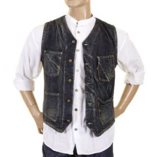 Sugar Cane Fiction Romance hard wash denim 30s model waistcoat SC12242H CANE1219 at  Men�s Clothing store Fashion Vests