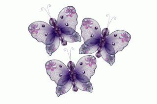 "Hanging nylon butterfly craft nursery bedroom girls room ceiling wall decor, wedding birthday party baby bridal shower decorations   Emily Butterfly craft dŽcor   3"" purple   set of 3   Butterfly Pictures For Bedroom"