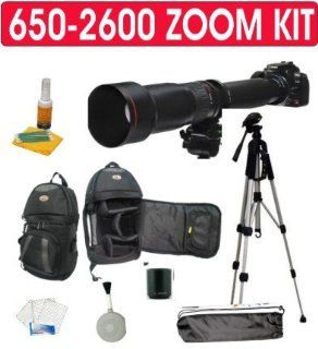 "Rokinon BLACK High Definition 650 1300mm F/8 16 T Mount Telephoto Zoom Lens with 2x Teleconverter (650 2600mm)+ Deluxe SLR Pro Camera Case + Deluxe 52"" Camera Tripod with Carrying Case + Celltime 3 Piece Lens Cleaning Kit + Screen Protector for Nikon"