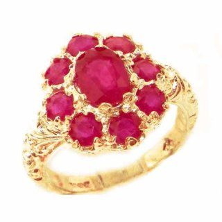 Solid English Yellow 9K Gold Womens Large Natural Ruby Art Nouveau Ring   Finger Sizes 5 to 12 Available Jewelry