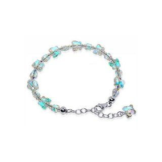 Sterling Silver Butterfly Clear Crystal adjustable Bracelet 7 to 8 inch Made with Swarovski Elements Jewelry