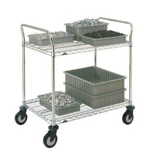 Metro 2SPN56PS Super Erecta Stainless Steel Two Shelf Heavy Duty Utility Cart with Polyurethane Cast   Furniture