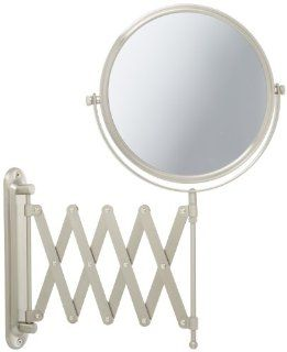 Jerdon JP2027N 8 Inch Two Sided Swivel Wall Mount Mirror with 7x Magnification, 23 Inch Extension, Nickel Finish Beauty