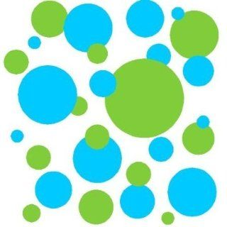 Set of 130 Ice Blue and Lime Green Polka Dots Wall Graphic Vinyl Lettering Decal Stickers Wall Decal   Wall Decor Stickers
