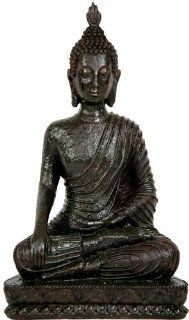 Oriental Furniture Simple, Unique, Beautiful Educational Art Gift Ideas Graduation 2011, 10 Inch Laotian Sitting Meditation Buddha with Earth Mudra   Statues