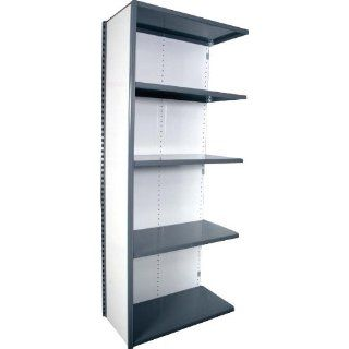 "Equipto 675W5A V Grip 18 Gauge Heavy Duty Steel Closed Shelf Add On Unit with 5 Shelves, 450 lbs Shelf Capacity, 48"" Width x 84"" Height x 24"" Depth, Office Gray Tool Utility Shelves"