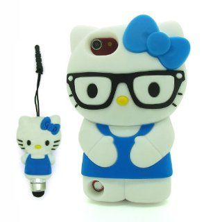DD Blue 3D Cartoon Cute Super Adorable Hello Kitty with Glasses Soft Silicone Case Skin Protective Cover for Apple iPod Touch iTouch 5 5G 5th Generation with 3D Silicone Hello Kitty Stylus Touch Pen   Players & Accessories