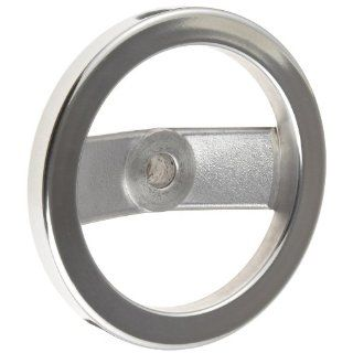"2 Spoked Polished Aluminum Dished Hand Wheel without Handle, 6"" Diameter, 5/8"" Hole Diameter, (Pack of 1) Hardware Hand Wheels"