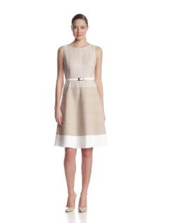 Anne Klein Women's Zigzag Lace Colorblock Swing Dress, Dune, 10