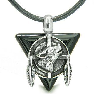 Amulet Arrowhead Howling Wolf Trinity Dreamcatcher Triangle Protection Energies Black Onyx Pendant on Leather Cord Necklace Jewelry
