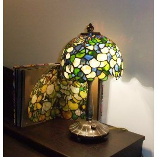 Dale Tiffany 101206 Hydrangea Mini Table Lamp, Antique Bronze and Art Glass Shade