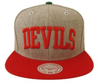 New Jersey Devils Mitchell & Ness Word Block Snapback Cap Hat Grey Red