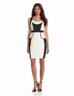 Jax Women's Colorblock Peplum Dress, Ivory/Black, 2