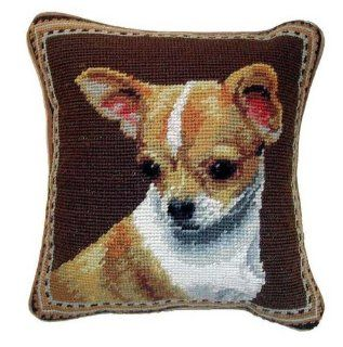 Tan White Chihuahua Dog Needlepoint Throw Pillow 10""