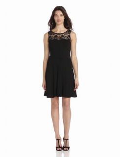 Jessica Simpson Women's Lace Yoke Fit And Flare Dress, Black, 6
