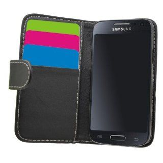 SAMRICK   Samsung i9190 Galaxy S4 IV Mini & i9192 Galaxy S4 IV Mini (Dual Sim)   Executive Specially Designed Soft Leather Book Wallet Case With Credit Card/Business Card Holder   Black Cell Phones & Accessories