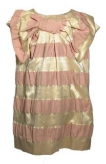 SONIA RYKIEL ENFANT Striped Big Bow Dress  16  GOLD/PINK Playwear Dresses Clothing