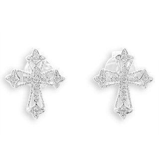 18K White Gold Vintage Style Round Diamond Accents Maltese Religious Latin Cross Stud Earrings (1/10 cttw, G H Color, VS2 SI1 Clarity) Jewelry