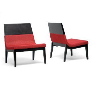 Baxton Studio Prezna Modern Accent Chair, Dark Brown and Red, Set of 2   Dining Chairs