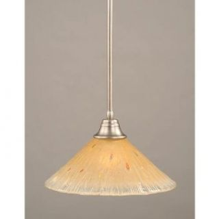Toltec Lighting 26 BN 710 Stem Pendant Light Brushed Nickel Finish with Amber Crystal Glass Shade, 16 Inch   Ceiling Pendant Fixtures