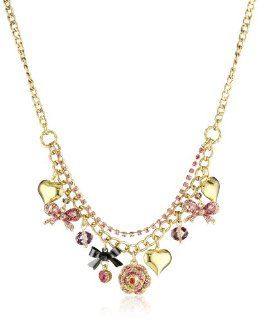 "Betsey Johnson ""Iconic Ombre Rose"" Bow Multi Charm Necklace Jewelry"