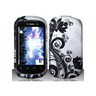 LG Doubleplay C729 (T Mobile) Black/Silver Vines Design Hard Case Snap On Protector Cover + Free Magic Soil Crystal Gift Cell Phones & Accessories
