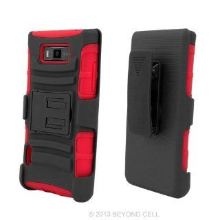 Lg Ls730/us730/l86c Showtime , Black/Red Tuff Rugged Hybrid Dual Layer Protective Phone Armor Case Cover Cell Phones & Accessories