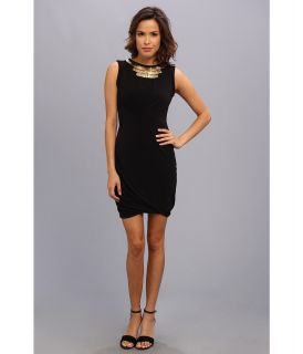 Ivy & Blu Maggy Boutique Sleeveless Solid Sheath Dress w/ Beaded Necklace Womens Dress (Black)
