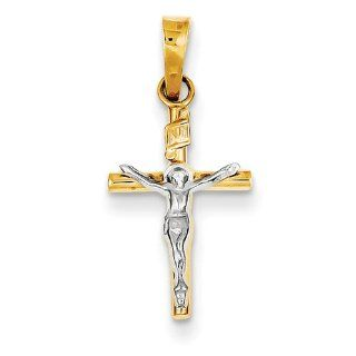 Small Latin Crucifix Pendant, 14K Two Tone Gold Jewelry