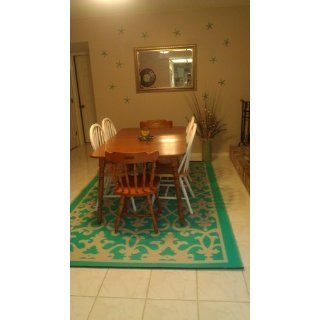 Fab Habitat 4 Feet by 6 Feet Venice Indoor/Outdoor Rug, Cream and Turquoise  Area Rugs  Patio, Lawn & Garden