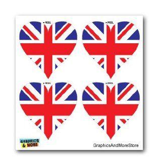 Great Britain UK British Flag Heart Union Jack   Set of 4   Window Bumper Laptop Stickers Automotive