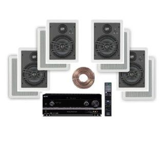 "Sony HD Digital Cinematic Sound 735 Watts 7.1 Channel 3D A/V Receiver with iPhone & iPod Playback + Yamaha Natural Sound Custom Install In Wall 3 Way 150 watts Speaker (Set of 4) with a 1"" Swivel Titanium Dome Tweeter, 1 5/8"" Swivel Aluminum"