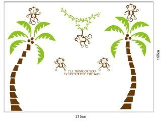 Huge Adorable Swinging Monkeys and Palm Trees Wall Decal Assembled Size 160cm*215cm