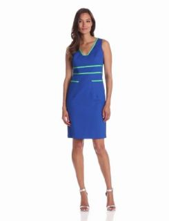 Anne Klein Women's Petite Contrast Trim Sheath Dress, Azure, 10