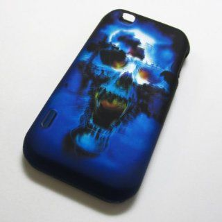 Rubberized Hard Phone Cases Covers Skins Snap on Faceplate Protector for Lg Maxx Touch Mytouch My Touch 4g E739 E 739 E739 Tmobile T.mobile /Blue Skull (Wholesale Price) Cell Phones & Accessories