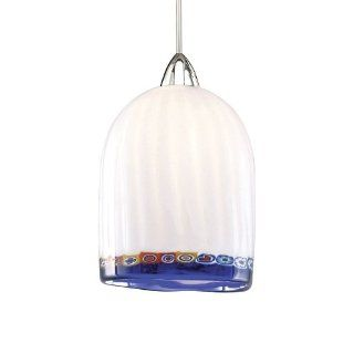 WAC Lighting MP LED540 BL/BN Rosetta European Collection 1 Light LED MonoPoint Pendant with Blue Art Glass Shade and Brushed Nickel Finished Cord   Ceiling Pendant Fixtures