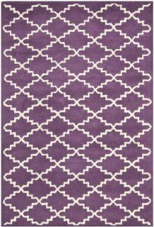 Safavieh CHT721F Chatham Collection Wool Handmade Area Rug, 4 Feet by 6 Feet, Purple and Ivory