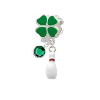 Lucky Bowling Pin Green Four Leaf Clover European Charm Bead Hanger with Emerald Crystal Drop Jewelry