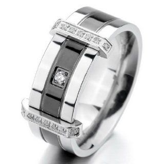JBlue Jewelry Men's Stainless Steel Rings Band CZ Silver Black Wedding Charm Elegant (with Gift Bag) Jewelry