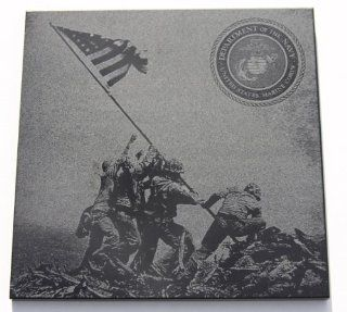 "WWII Iwo Jima Flag Raising 6""x6"" Black Marble Plaque Navy Marines Veterans   Decorative Plaques"