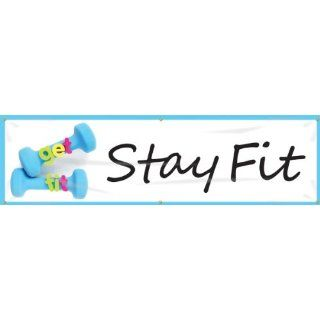"Accuform Signs MBR724 WorkHealthy Reinforced Vinyl Banner ""get fit Stay Fit"" with Metal Grommets, 28"" Width x 8' Length Industrial Warning Signs"
