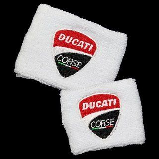 Ducati NEW Corse White Brake and Clutch Reservoir Sock Cover Set Fits 748, 749, 848, 848 Evo, 916, 996, 998, 999, 1098, 1198, ST2, ST3, ST4, Streetfighter, Hypermotard, Multistrada, Monster 1100 Automotive